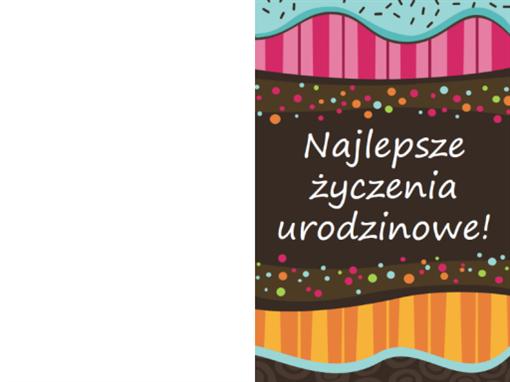 Kartka urodzinowa — kropki i paski (dla dzieci, składana na pół)