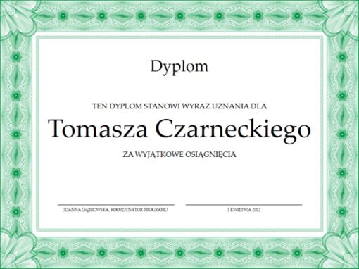 Dyplom (formalne zielone obramowanie)