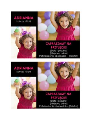 Pocztówka z zaproszeniem na przyjęcie urodzinowe