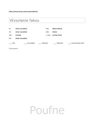 Arkusz strony tytułowej faksu