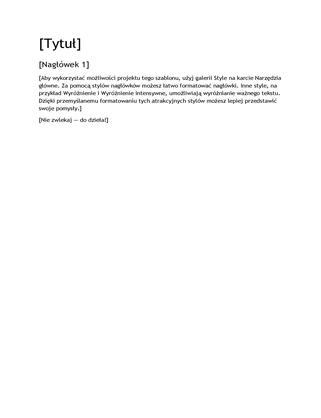 Pusty szablon o projekcie Raport