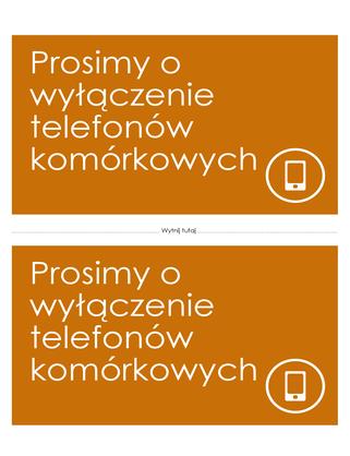 Plakat przypominający o wyłączeniu telefonu komórkowego (pomarańczowy)