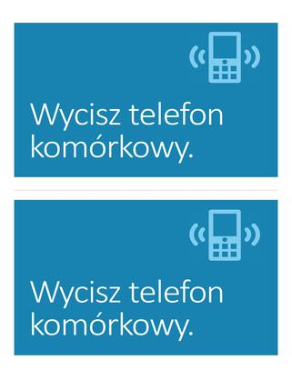 Plakat przypominający o wyłączeniu telefonu komórkowego (niebieski)