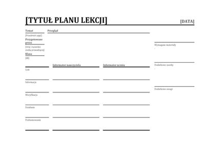 Dzienny plan lekcji