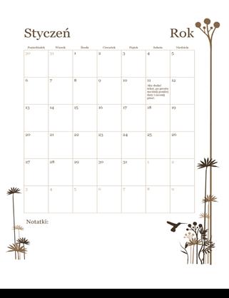 Kalendarz 12-miesięczny na rok 12 (poniedziałek–niedziela)