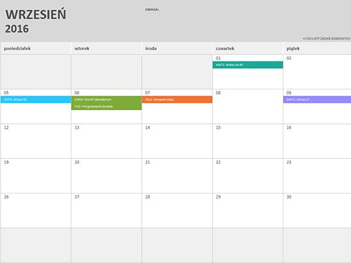 Kalendarz Excel 2016
