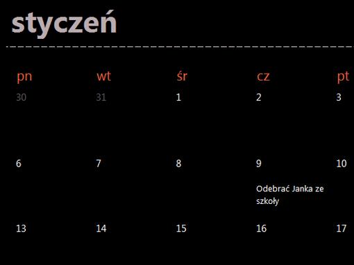 Karty wiecznie aktualnego kalendarza (kolor czarny)