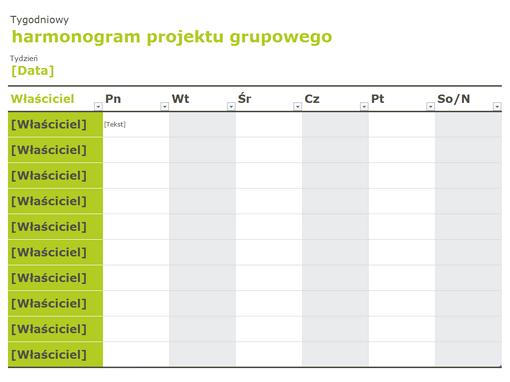 Harmonogram grupy
