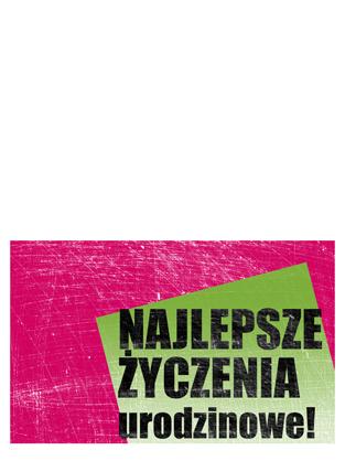 Kartka urodzinowa, porysowane tło (różowy, zielony, składana na pół)