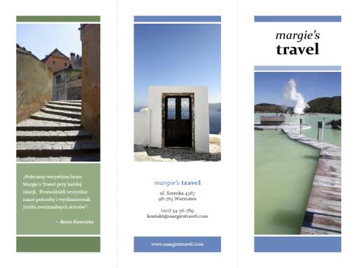 Trzyszpaltowa broszura biura podróży (niebieski, zielony)