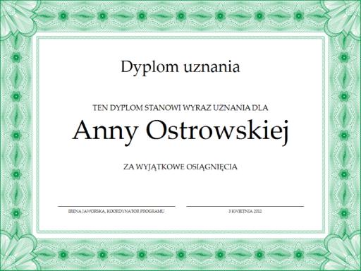 Dyplom uznania (zielony)