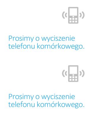 Plakat przypominający o wyłączeniu telefonu komórkowego