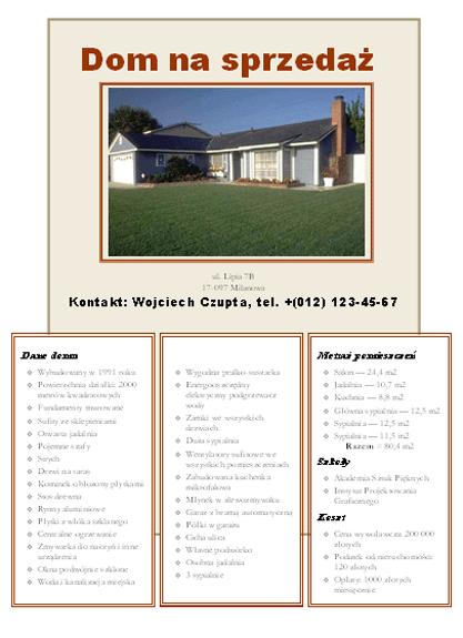 Ulotka z informacją o sprzedaży domu ze zdjęciem, mapą i rysunkiem przedstawiającym układ pomieszczeń