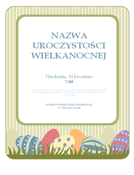 Ulotka z zaproszeniem na uroczystość wielkanocną (z jajkami)