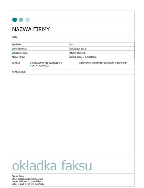 Strona tytułowa faksu (kropki)