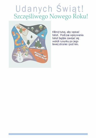 Papeteria (z ilustracją dotyczącą sportów zimowych)
