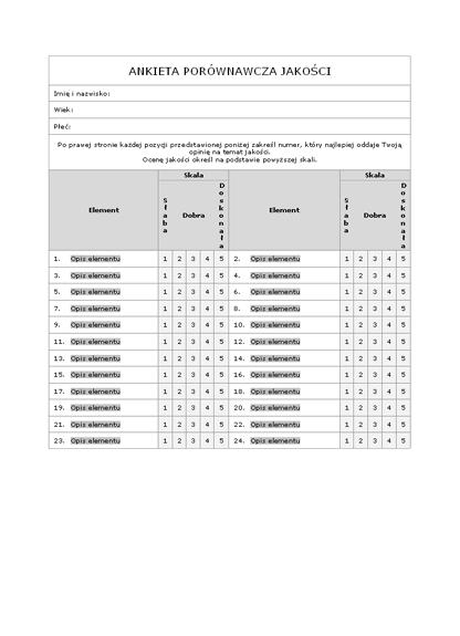 Ankieta porównawcza jakości