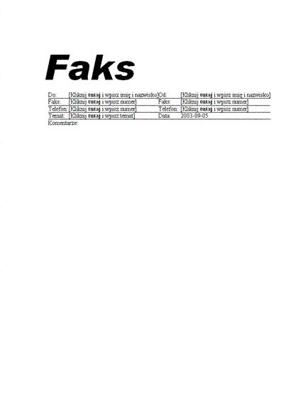 Strona tytułowa faksu standardowego