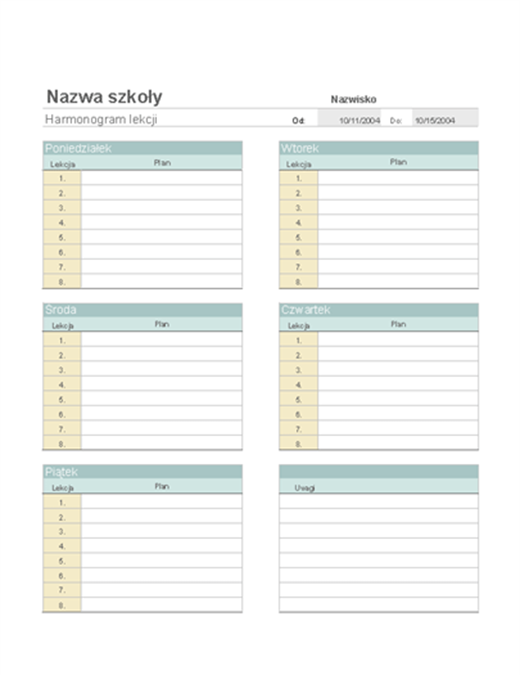Tygodniowy plan lekcji nauczyciela
