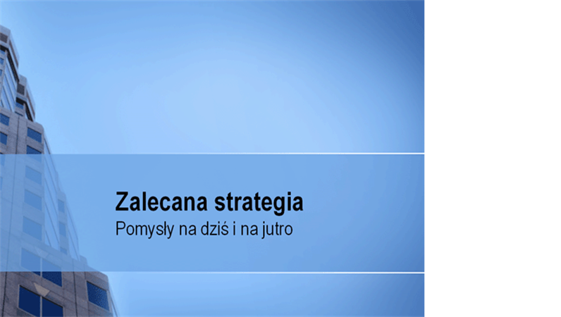 Prezentacja zaleceń dotyczących strategii