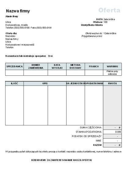 Oferta cenowa z obliczonym podatkiem