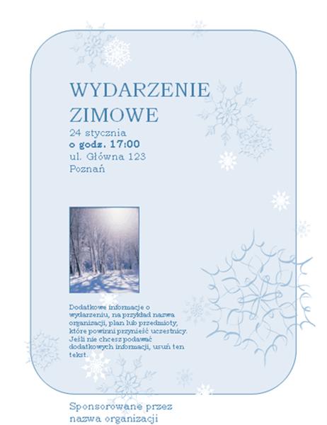 Ulotka o wydarzeniu zimowym