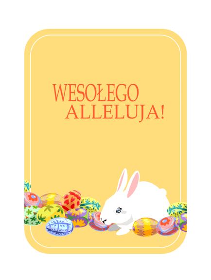 Kartka wielkanocna (z królikiem i jajkami)