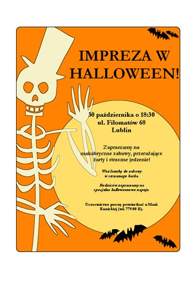 Ulotka o imprezie w Halloween