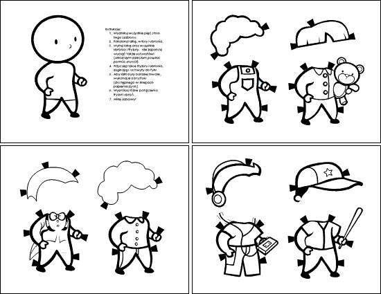 Papierowe lalki (dla chłopca, do kolorowania)