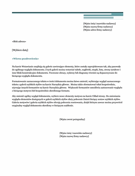 List korespondencji seryjnej (motyw Wielkomiejski)