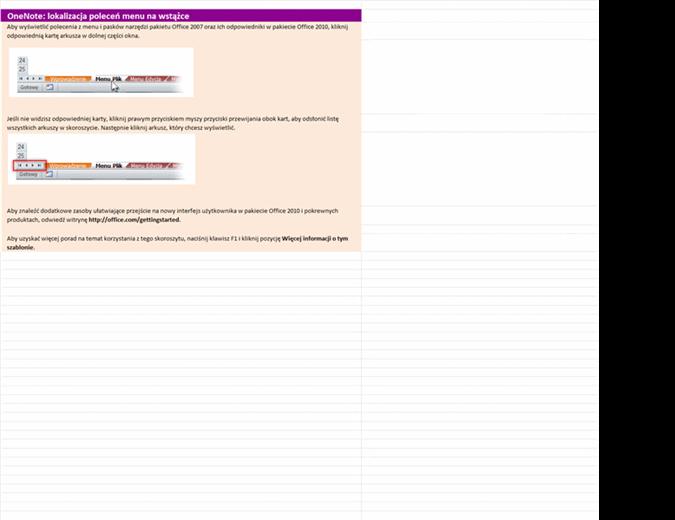 OneNote 2010: skoroszyt lokalizacji poleceń menu na wstążce
