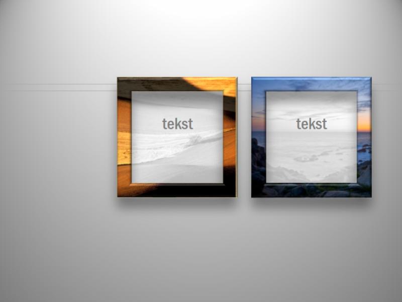 Ramki z rozmytymi fotografiami i tekstem
