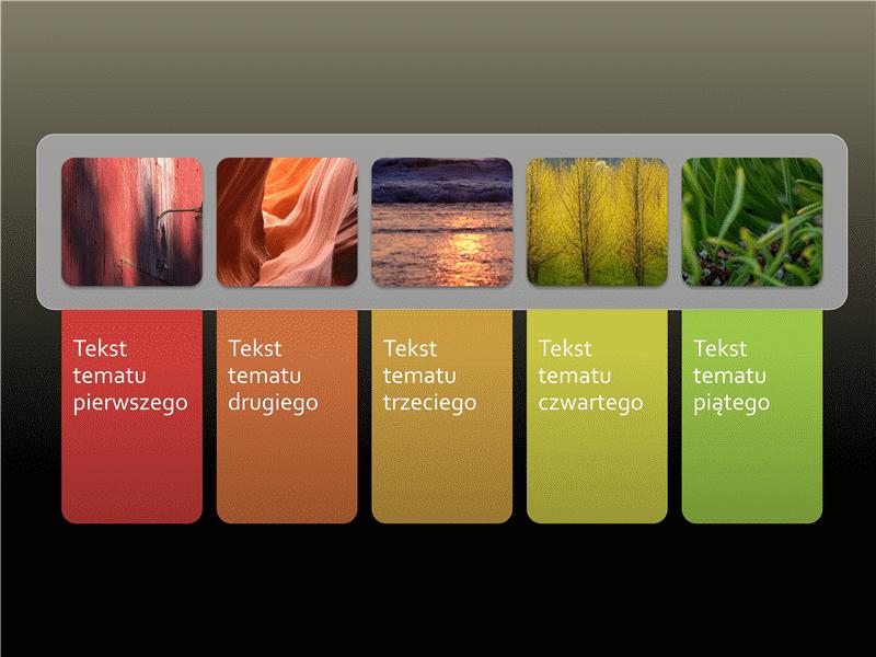 Animowana lista obrazów z kolorowymi kartami tekstowymi
