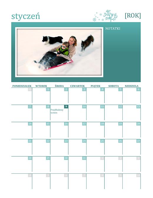 Sezonowy kalendarz rodzinny (dowolny rok, pon.–niedz.)