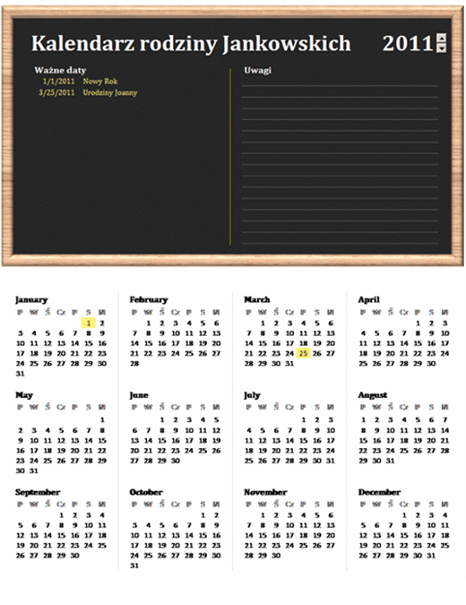 Kalendarz rodzinny (dowolny rok, poniedziałek–niedziela)