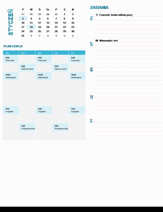 Kalendarz tygodniowy dla uczniów i studentów (dowolny rok, pon.–niedz.)