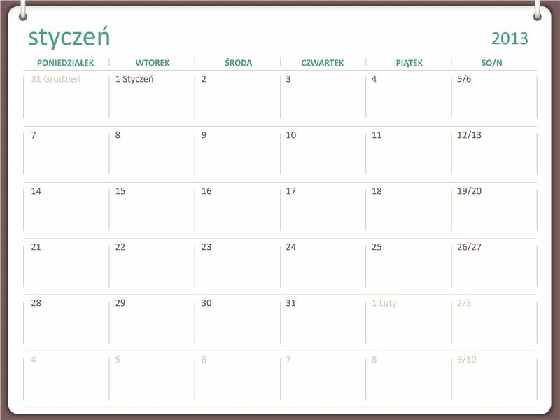 Kalendarz na rok 2013, projekt z dwoma kółkami (pon. – niedz.)