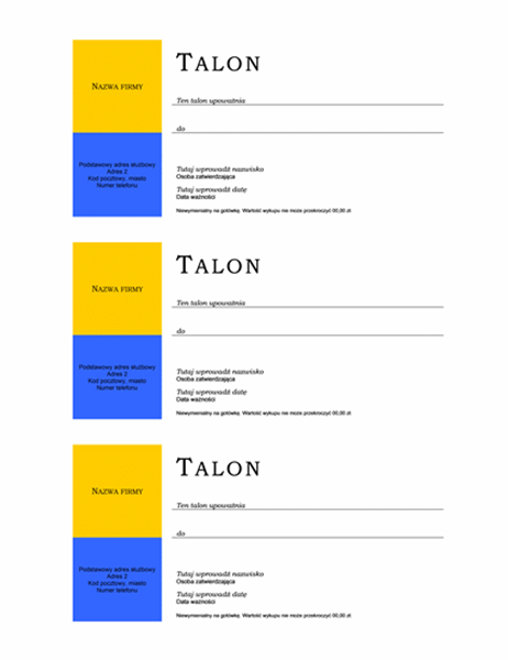 Talon (bez obramowania, 3 sztuki i więcej)