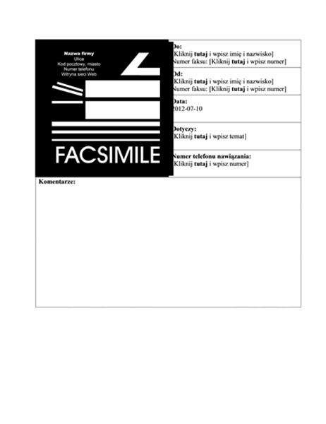 Strona tytułowa faksu służbowego