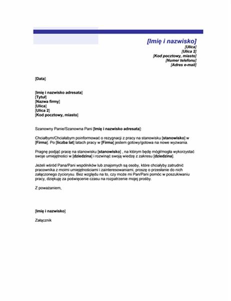 List informujący o rozpoczęciu poszukiwania pracy (motyw niebieskiej linii)