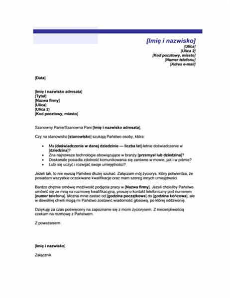 List motywacyjny do nieoczekiwanego życiorysu (motyw niebieskiej linii)