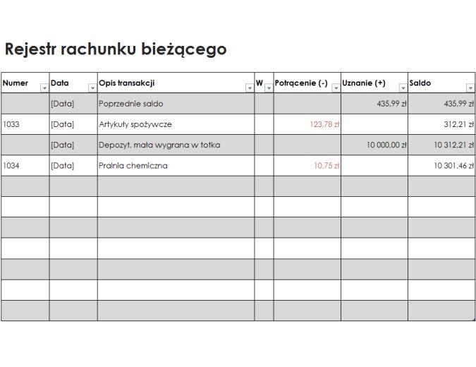 Rejestr rachunku bieżącego (prosty)