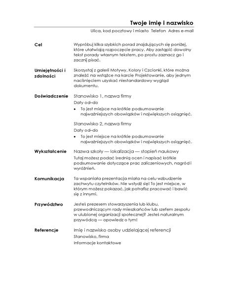 Życiorys funkcjonalny (projekt Minimalistyczny)