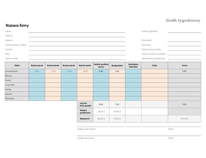 Arkusz rozliczenia tygodniowego (8,5x11 — poziomy)