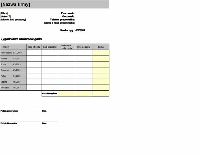 Arkusz rozliczenia tygodniowego według klienta i projektu