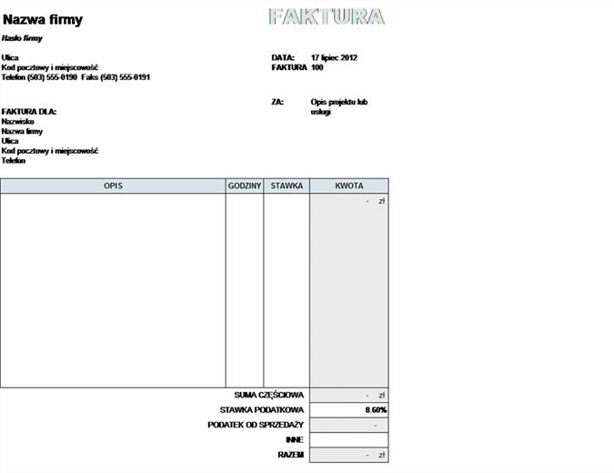 Faktura za usługi z obliczonym podatkiem