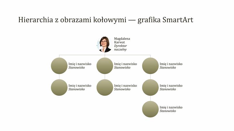 Schemat organizacyjny z obrazami kołowymi (panoramiczny)