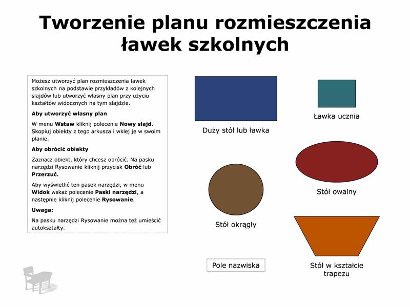 Plan rozmieszczenia ławek szkolnych