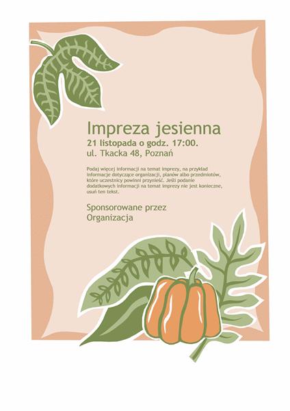 Ulotka z zaproszeniem na imprezę jesienną (z dynią)