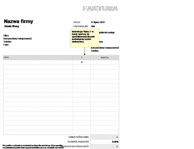Faktura z częściowo zastosowanym podatkiem od sprzedaży